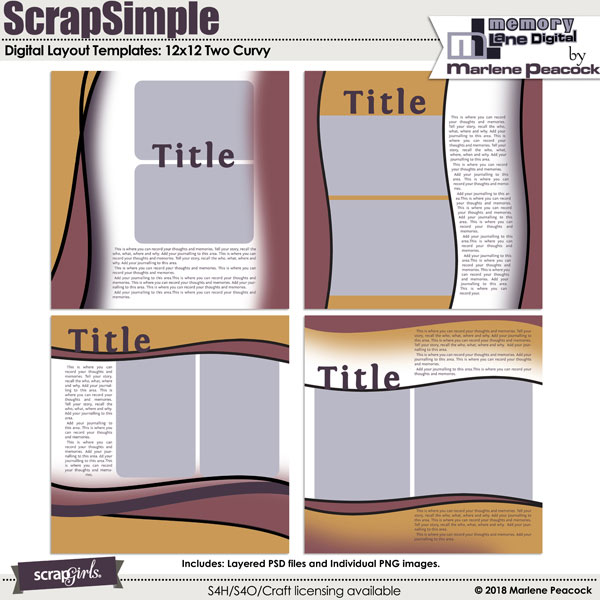 ScrapSimple Digital Layout Templates: Two Curvy
