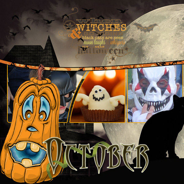 """October"" digital scrapbook layout features Value Pack: Scrap It Monthly 4"