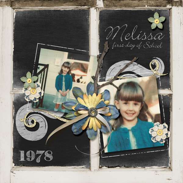 """First Day of School"" digital scrapbooking layout by Melissa Renfro ingredients linked below."