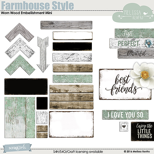 Farmhouse Style Worn Wood Embellishment Mini