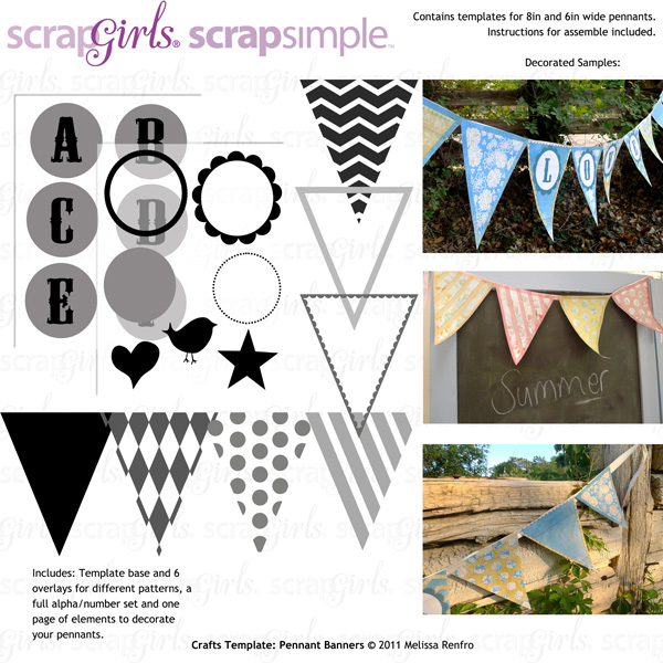 ScrapSimple Craft Templates: Pennant banners