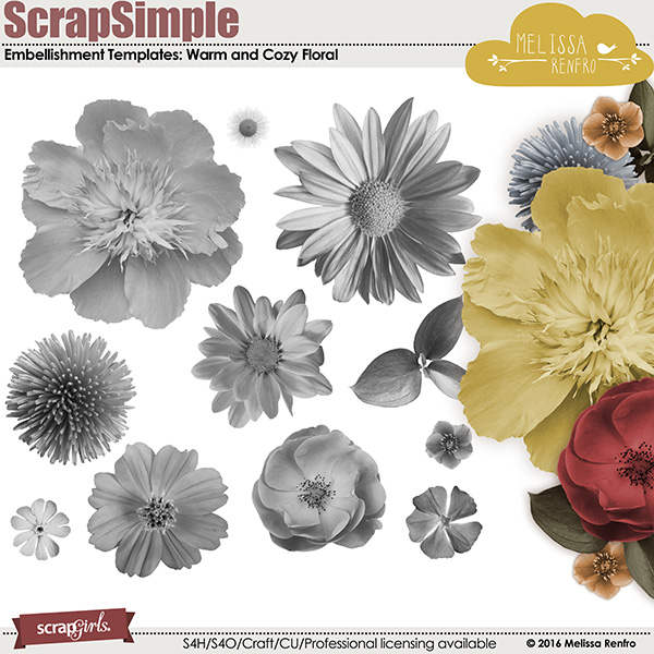 ScrapSimple Embellishment Templates: Warm and Cozy Flowers