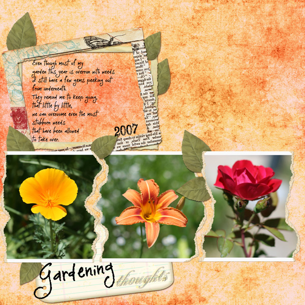 Layout by Melissa Renfro using ScrapSimple Tools - Actions: Paper Tear 5001, Embellishments from Again, Gathered Beauty, All About Marriage and Blossoms and Blooms, LD Font Monique