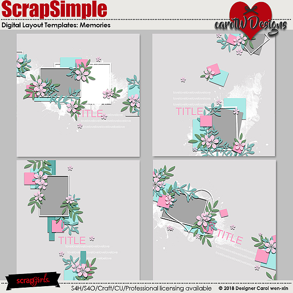 ScrapSimple Digital Layout Templates: Memories