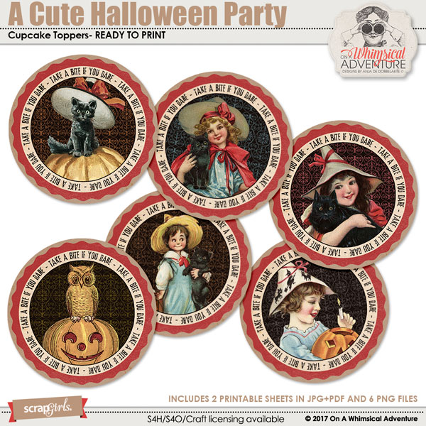 A Cute Halloween Party Cupcake Toppers by On A Whimsical Adventure