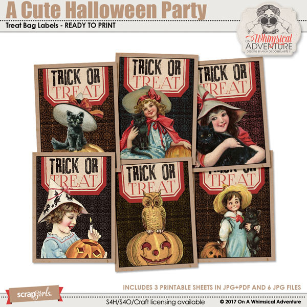 A Cute Halloween Party Treat Bag Labels by On A Whimsical Adventure