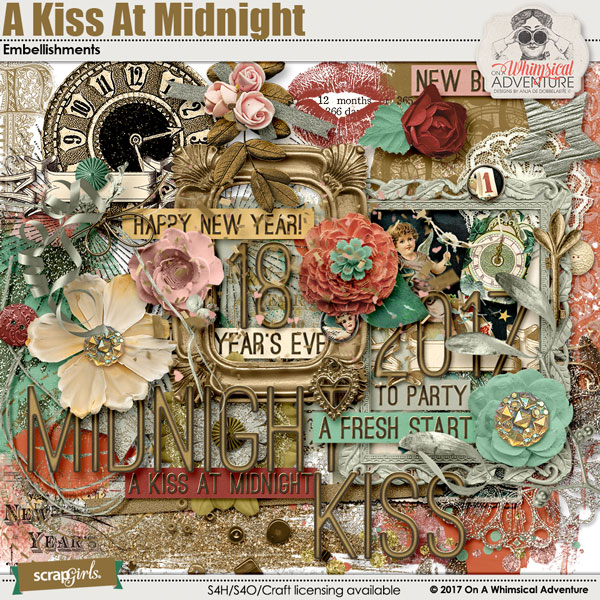 A Kiss At Midnight Embellishments by On A Whimsical Adventure