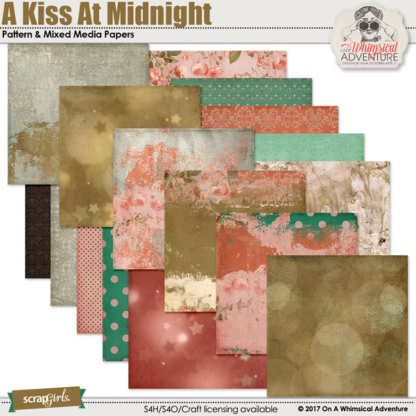 A Kiss At Midnight Pattern Papers by On A Whimsical Adventure