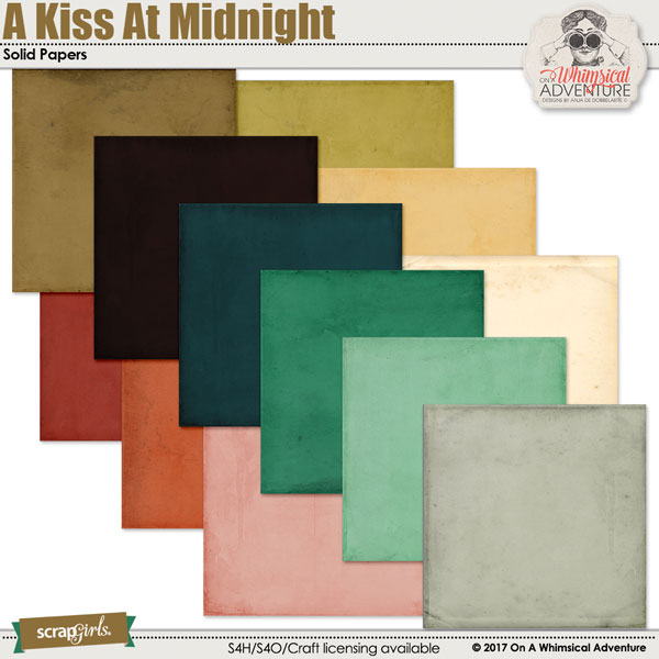 A Kiss At Midnight Solid Papers by On A Whimsical Adventure