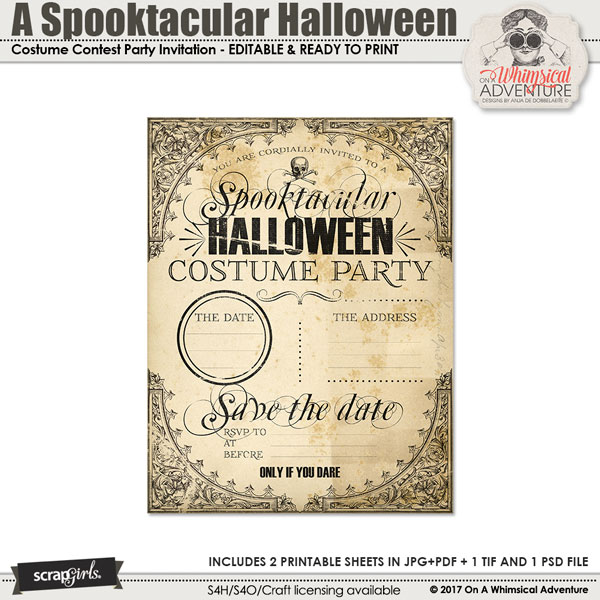 A Spooktacular Halloween Party Costume Contest Invitation by On A Whimsical Adventure