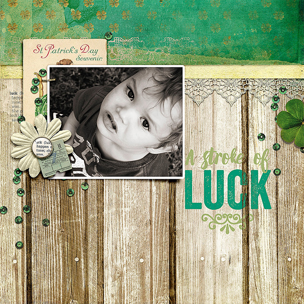 Digital layout using Value Pack: A Stroke Of Luck by On A Whimsical Adventure