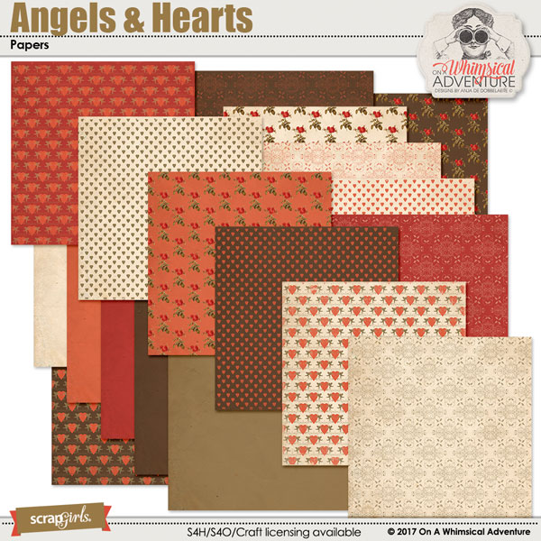 Angels And Hearts Papers by On A Whimsical Adventure