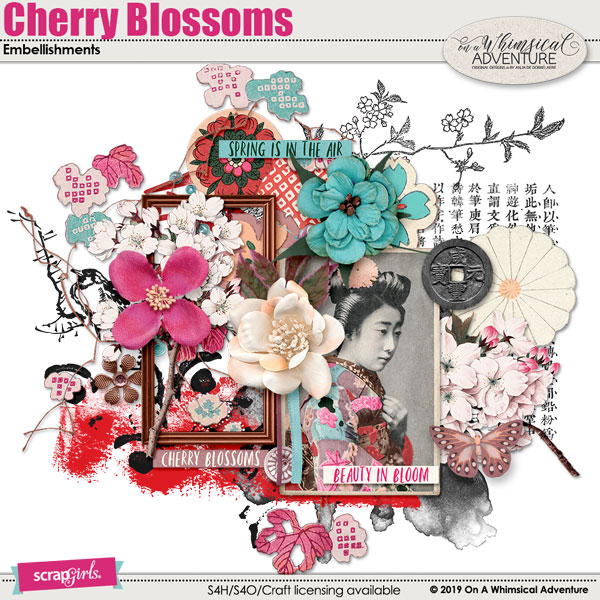 Cherry Blossoms Embellishments by On A Whimsical Adventure