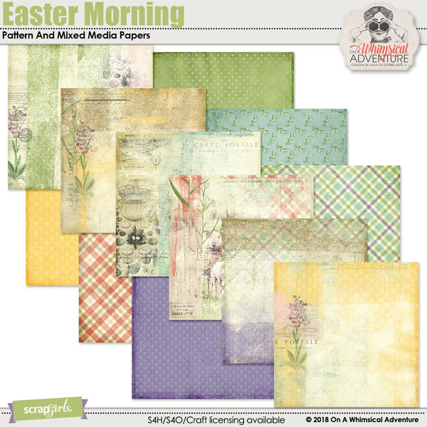 Easter Morning Pattern And Mixed Media Papers by On A Whimsical Adventure