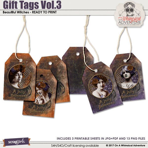 Gift Tags Vol3 Beautiful Witches by On A Whimsical Adventure