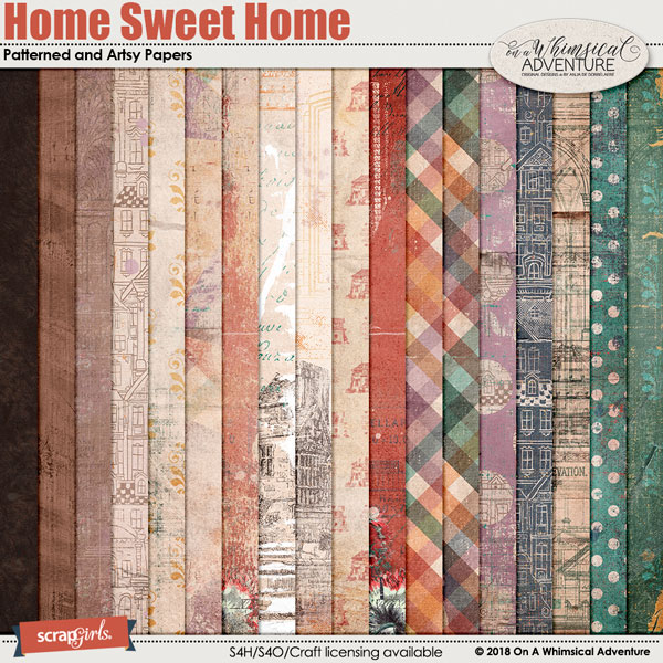 Home Sweet Home Patterned and Artsy Papers by On A Whimsical Adventure