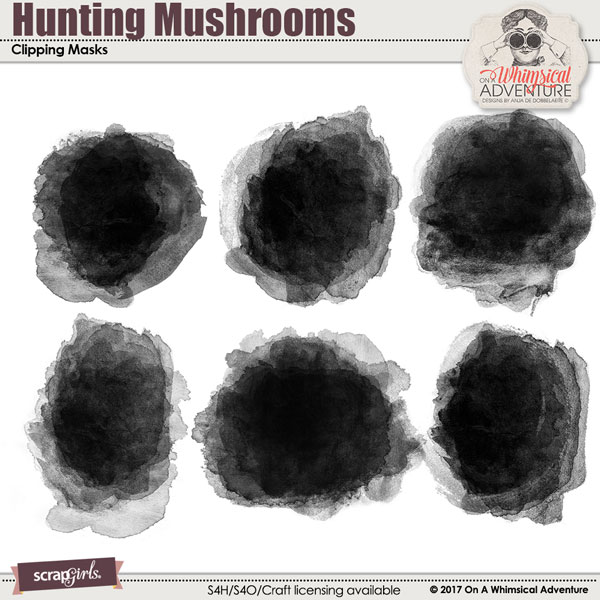 ScrapSimple Embellishment Templates: Hunting Mushrooms Clipping Masks