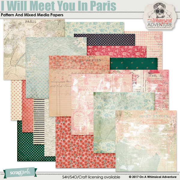 I Will Meet You In Paris Pattern And Mixed Media Papers by On A Whimsical Adventure