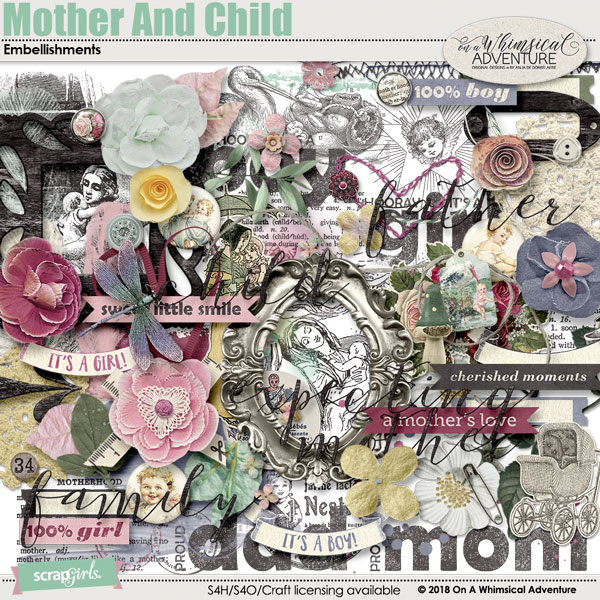 Mother And Child Embellishments by On A Whimsical Adventure