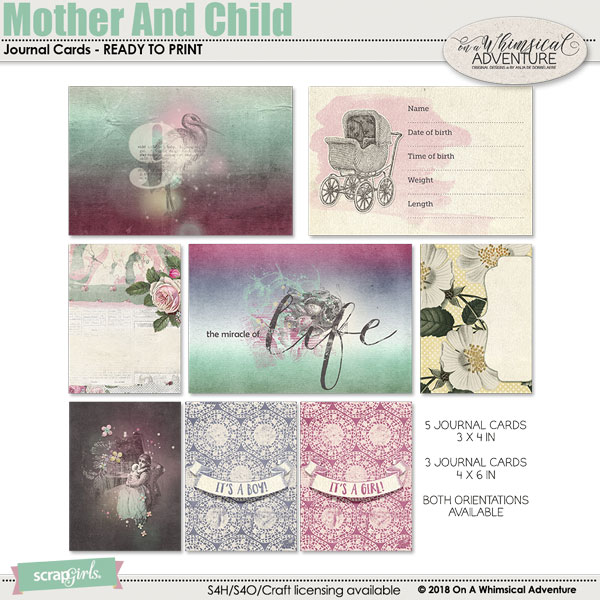 Mother And Child Journal Cards by On A Whimsical Adventure