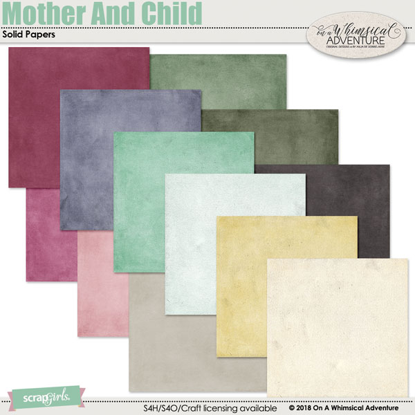Mother And Child Solid Papers by On A Whimsical Adventure