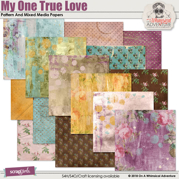 My One True Love Pattern Papers by On A Whimsical Adventure
