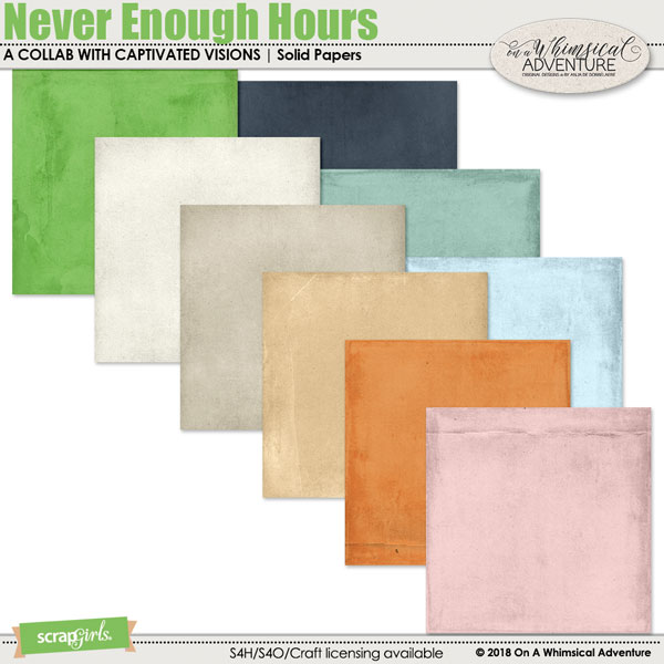 Never Enough Hours Solid Papers by On A Whimsical Adventure