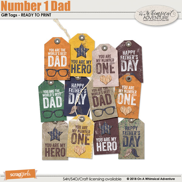 Number 1 Dad Gift Tags by On A Whimsical Adventure