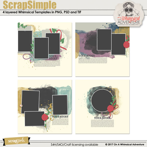 ScrapSimple Digital Layout Templates: Whimsical Templates Vol1 by On A Whimsical Adventure