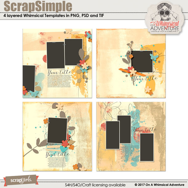 ScrapSimple Digital Layout Template: Whimsical Templates Vol3 by On A Whimsical Adventure