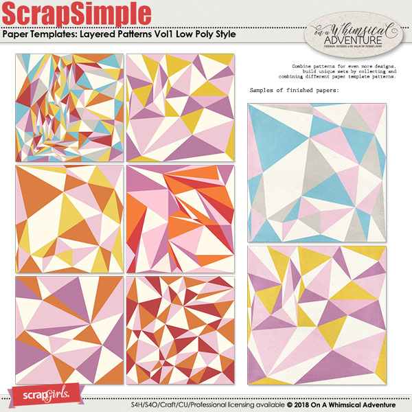 ScrapSimple Paper Templates Low Poly Style by On A Whimsical Adventure
