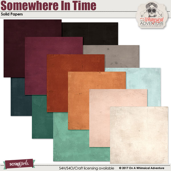 Somewhere In Time Solid Papers by On A Whimsical Adventure