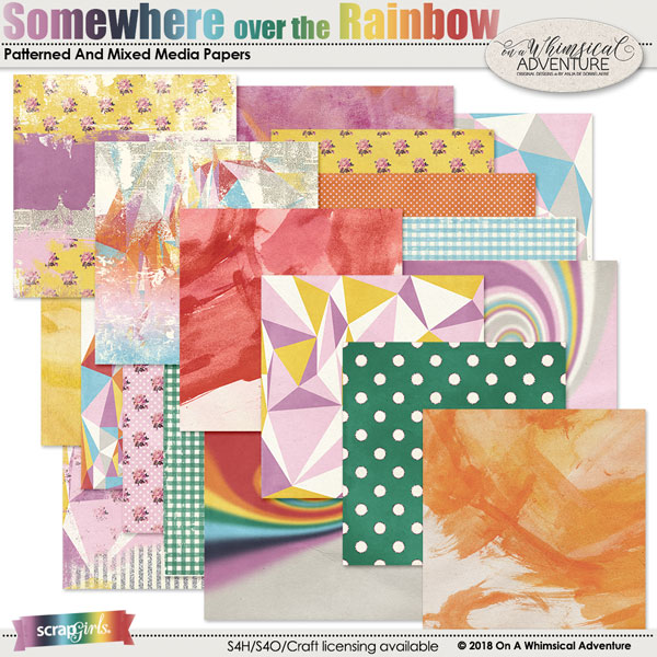 Somewhere Over The Rainbow Patterned and Artsy Papers by On A Whimsical Adventure