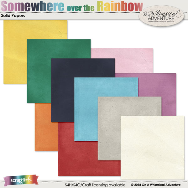 Somewhere Over The Rainbow Solid Papers by On A Whimsical Adventure