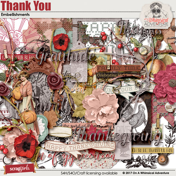 Thank You Embellishments by On A Whimsical Adventure
