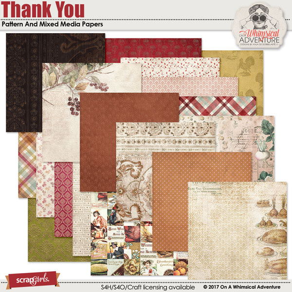 Thank You Pattern And Mixed Media Papers by On A Whimsical Adventure