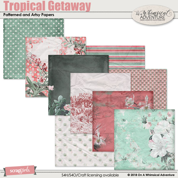 Tropical Getaway Patterned and Artsy Papers by On A Whimsical Adventure