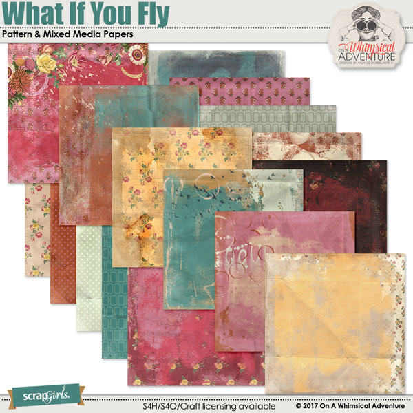 What If You Fly Pattern And Mixed Media Papers by On A Whimsical Adventure