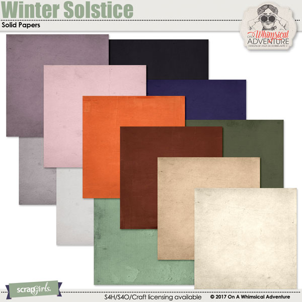 Winter Solstice Solid Papers by On A Whimsical Adventure