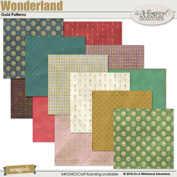 Wonderland Gold Patterns by On A Whimsical Adventure