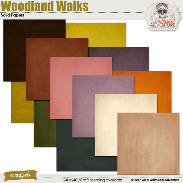 Woodland Walks Solid Papers by On A Whimsical Adventure