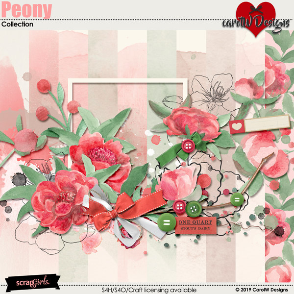 ScrapSimple Digital Layout Collection:Peony
