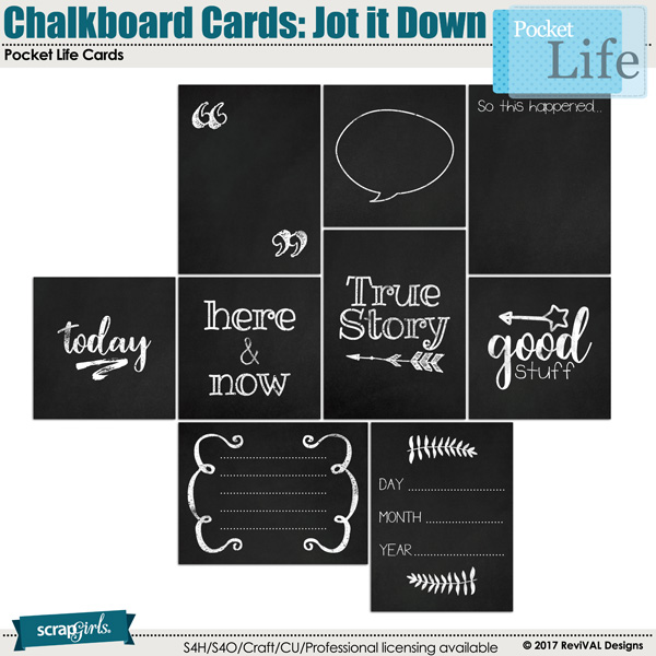 Pocket Life Challkboard Cards Jot it Down by ReviVAL Designs