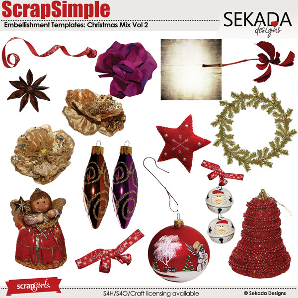 ScrapSimple Embellishment Templates: Christmas Mix Vol 2