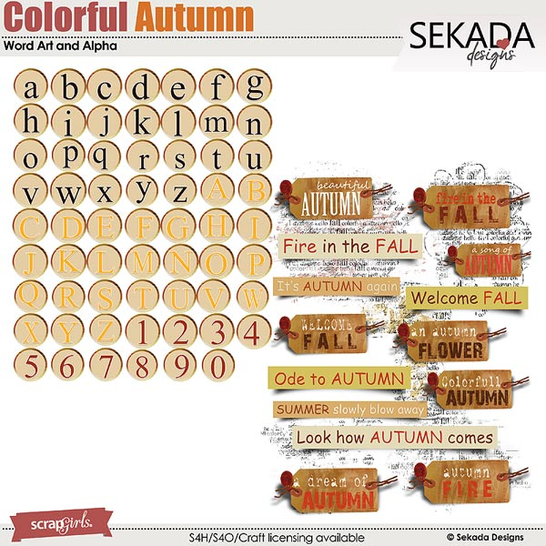 Colorful Autumn Word Art and Alpha