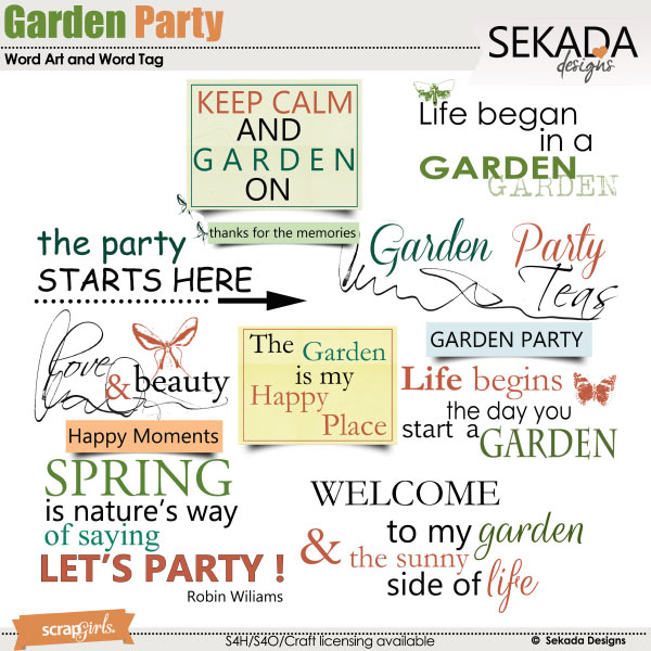 Garden Party Word Art and Word Tag
