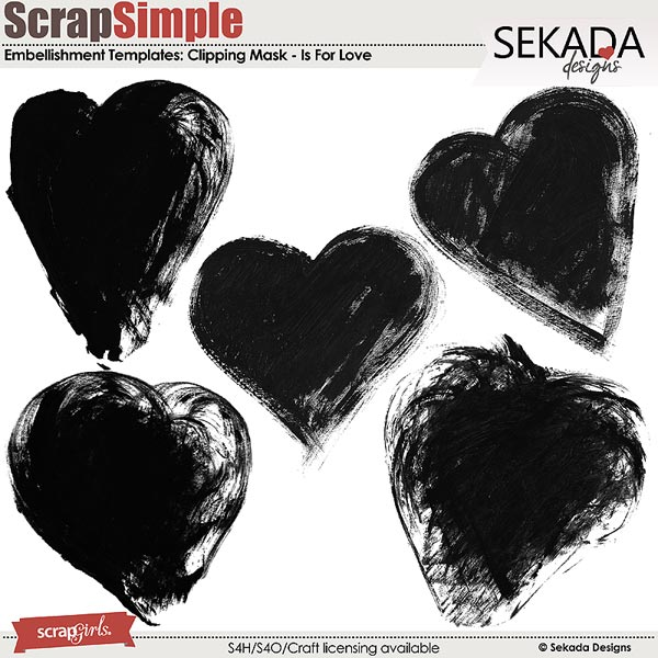 ScrapSimple Embellishment Templates: Is For Love Clipping Mask