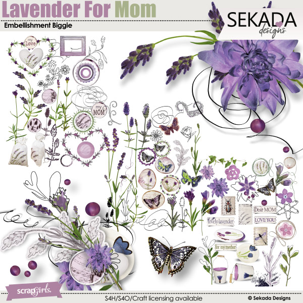 Lavender For Mom Embellishment Biggie