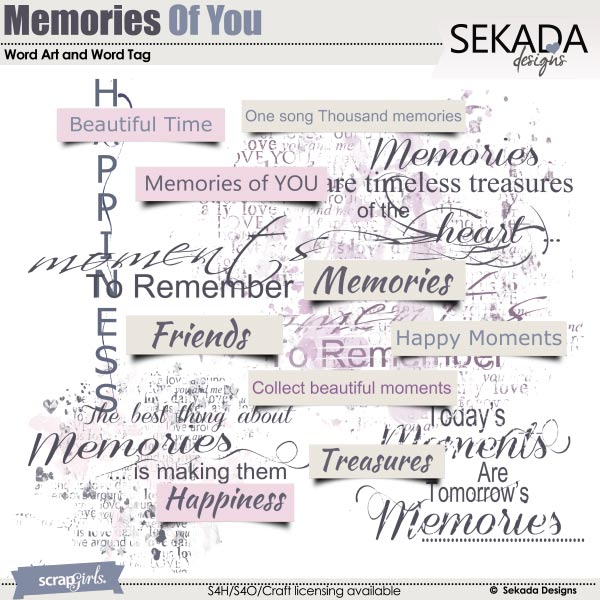 Memories Of You Word Art and Word Tag