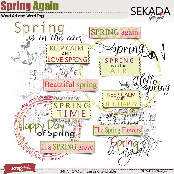 Spring Again Word Art and Word Tag